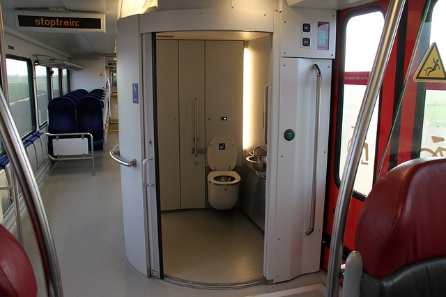 sitting toilet in a train